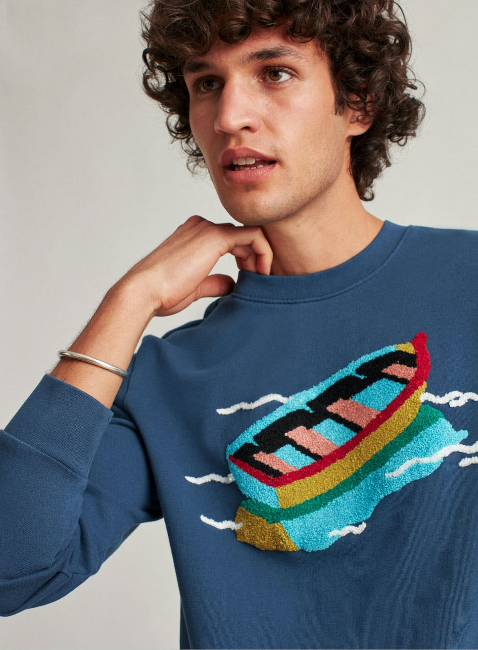 Image of Blue Chenille Rowboat Sweater