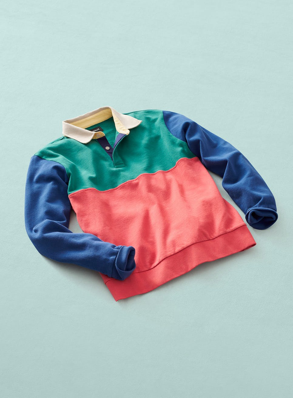 image of multicolor rugby polo