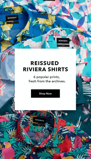 reissued riviera shirts in six popular prints. shop now