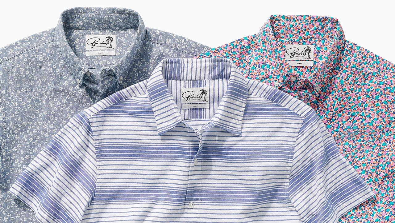 Three multicolor short-sleeve shirts