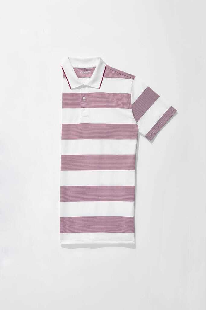 The Performance Golf Polo in Red Rugby Stripe