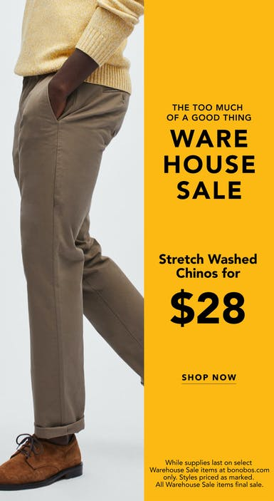 Stretch Washed Chinos for $28