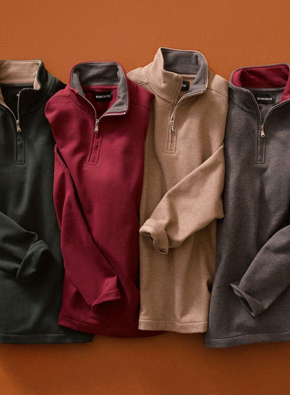 image of four Textured Fleece Half-Zip sweaters