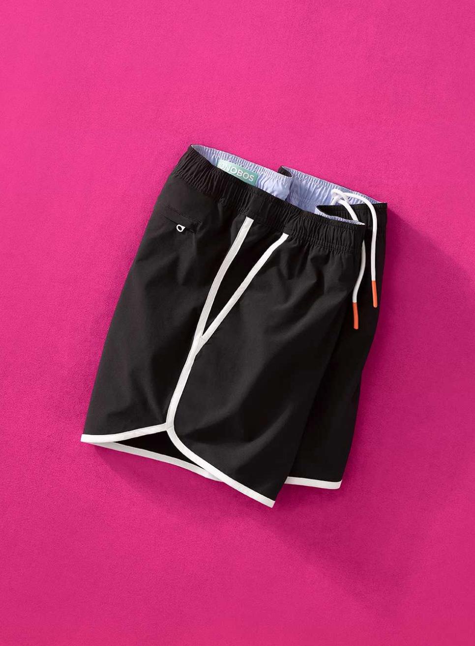 image of a black throwback swim trunk