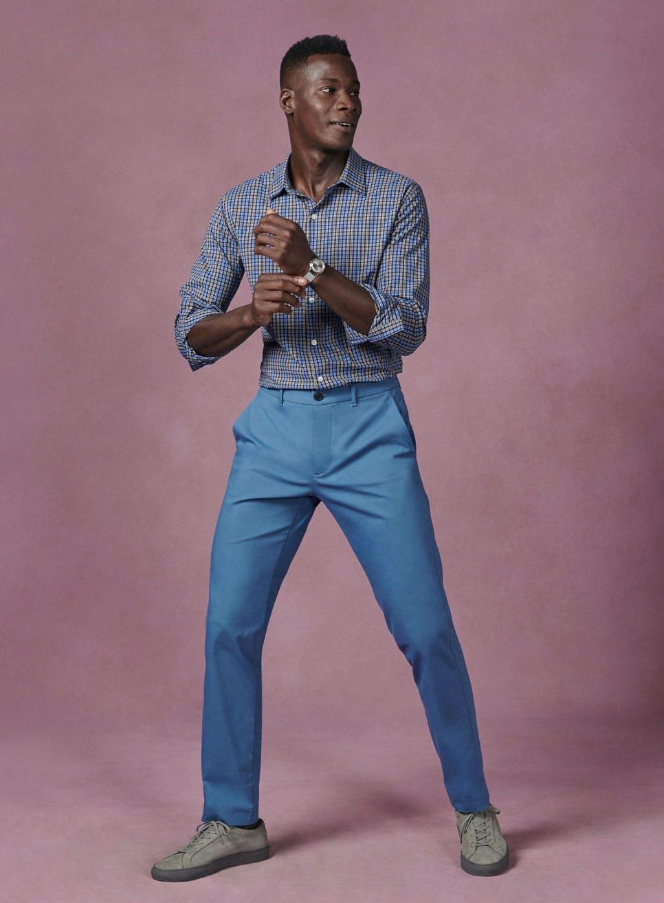 man wearing tech chinos