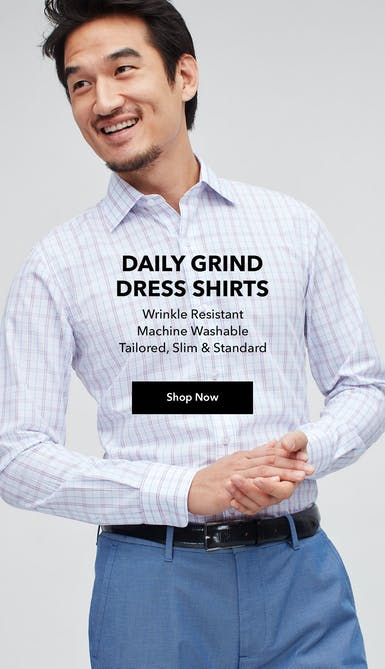 shop the wrinkle resistant, machine washable daily grind dress shirt in up to 3 fits