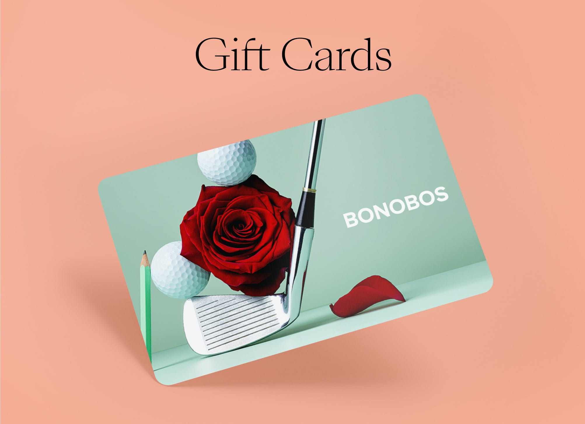 Image of a gift card with rose and golf club