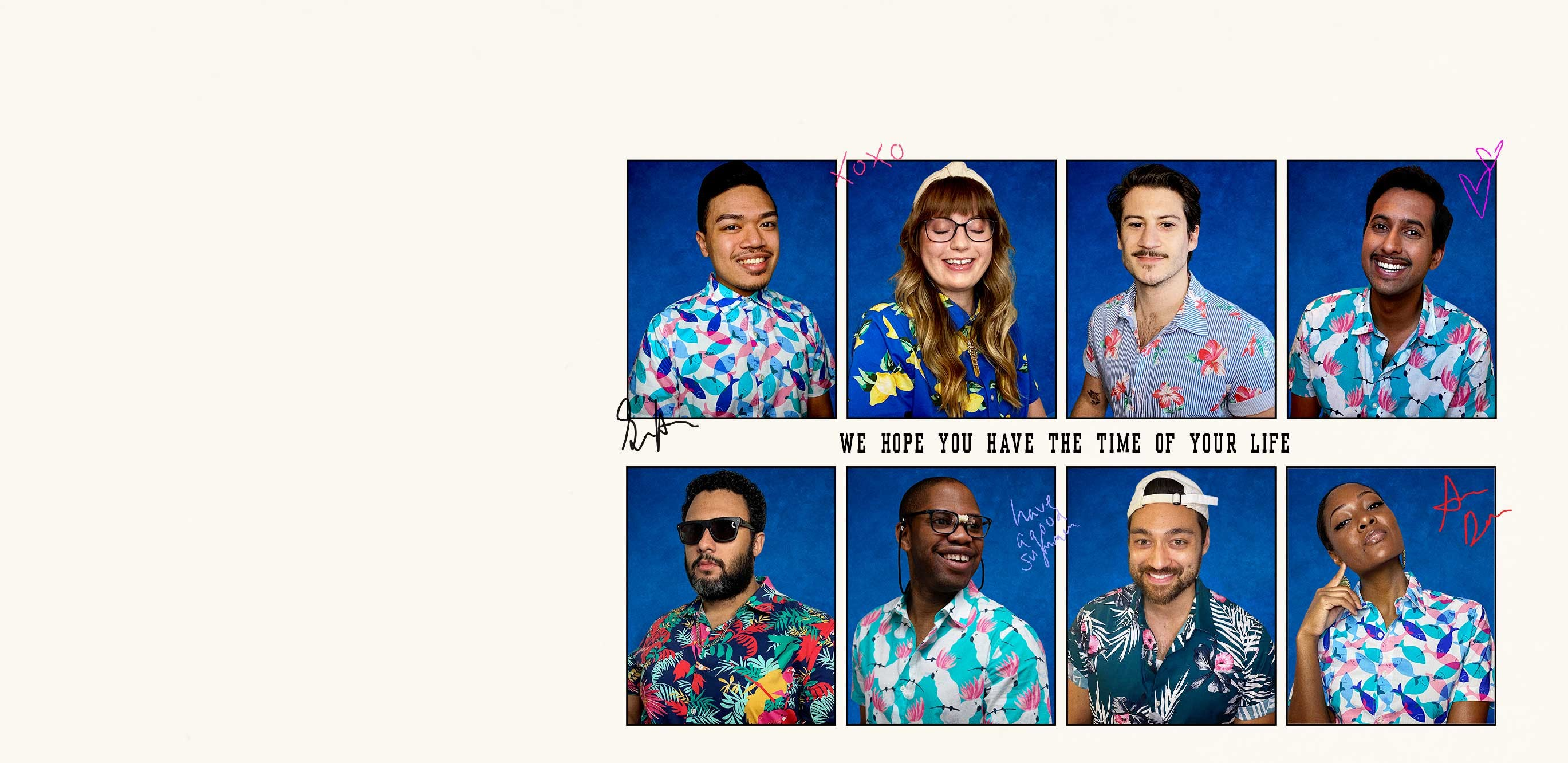 Yearbook-style collage of people wearing colorful, printed shirts