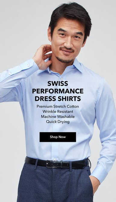 shop the swiss performance dress shirt in wrinkle resistant, machine washable, and quick-drying premium stretch cotton