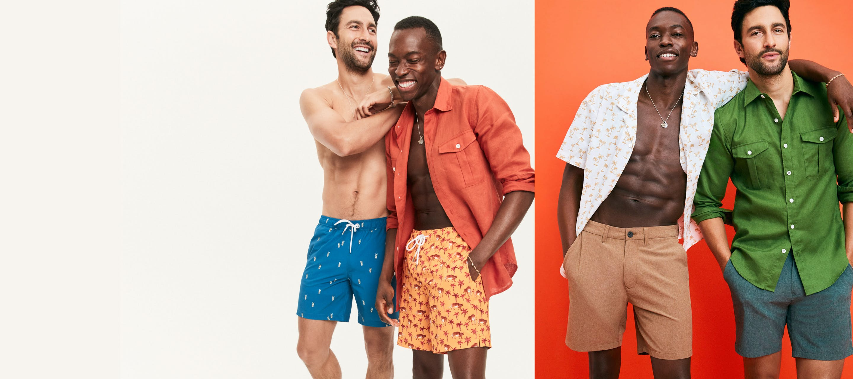 image of two men wearing Coast to Coaster shorts and Riviera Swim Trunks