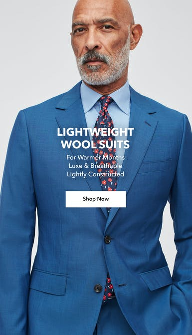 shop lightweight wool suits made with luxe and breathable fabric