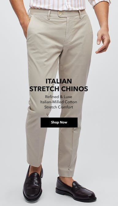 shop the Italian Stretch Chinos in light khaki