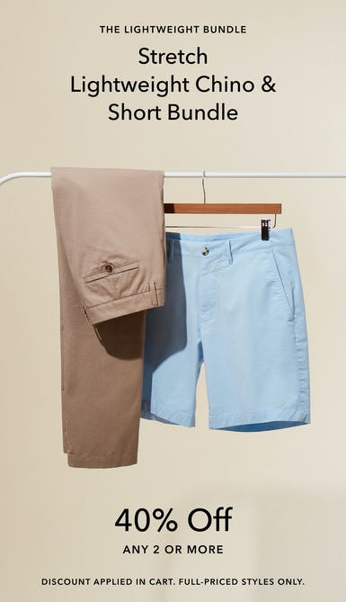 40% off 2 or more lightweight chinos and shorts, discount applied in cart