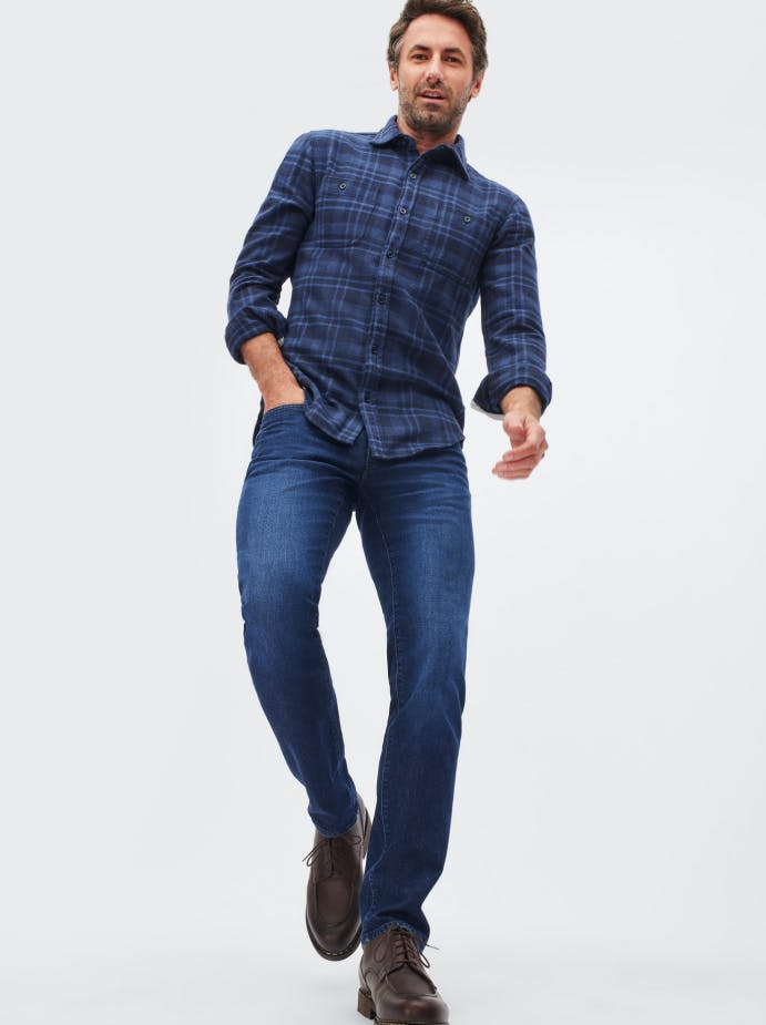 Man wearing grey wash premiums stretch denim