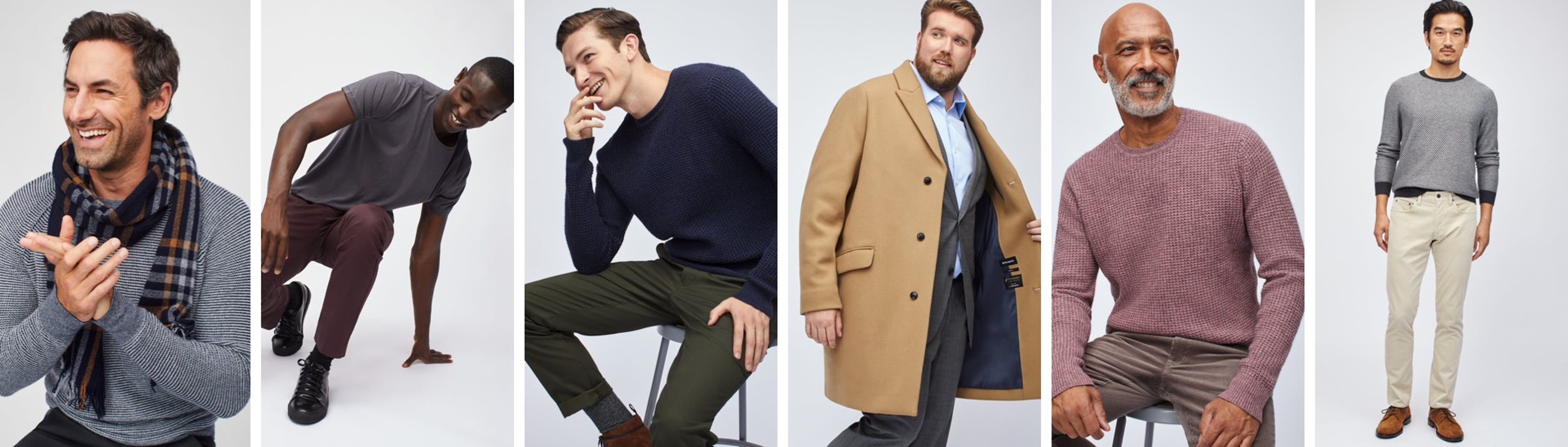 Image of six men in different outfits
