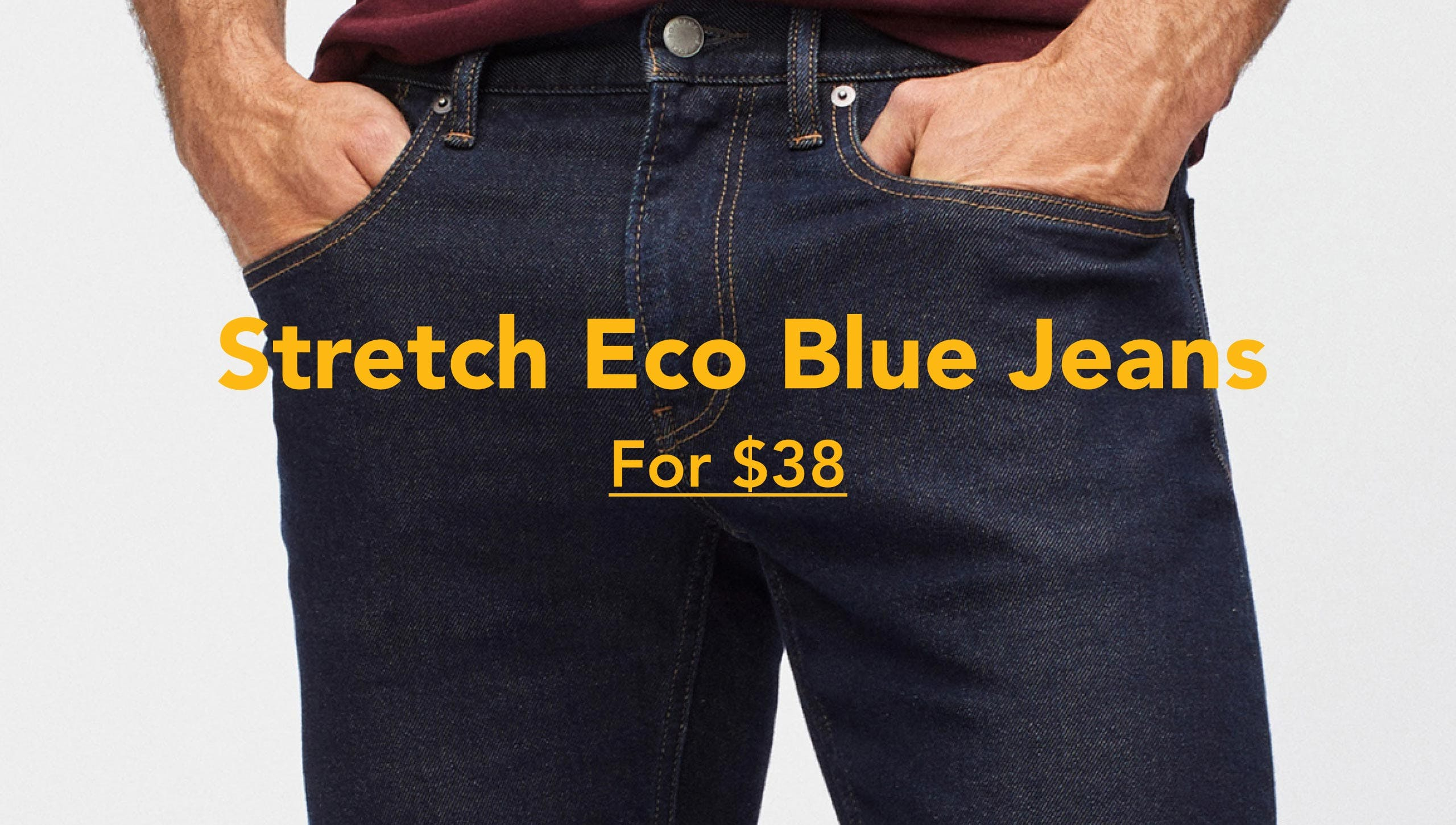 Stretch Eco Blue Jeans for $38