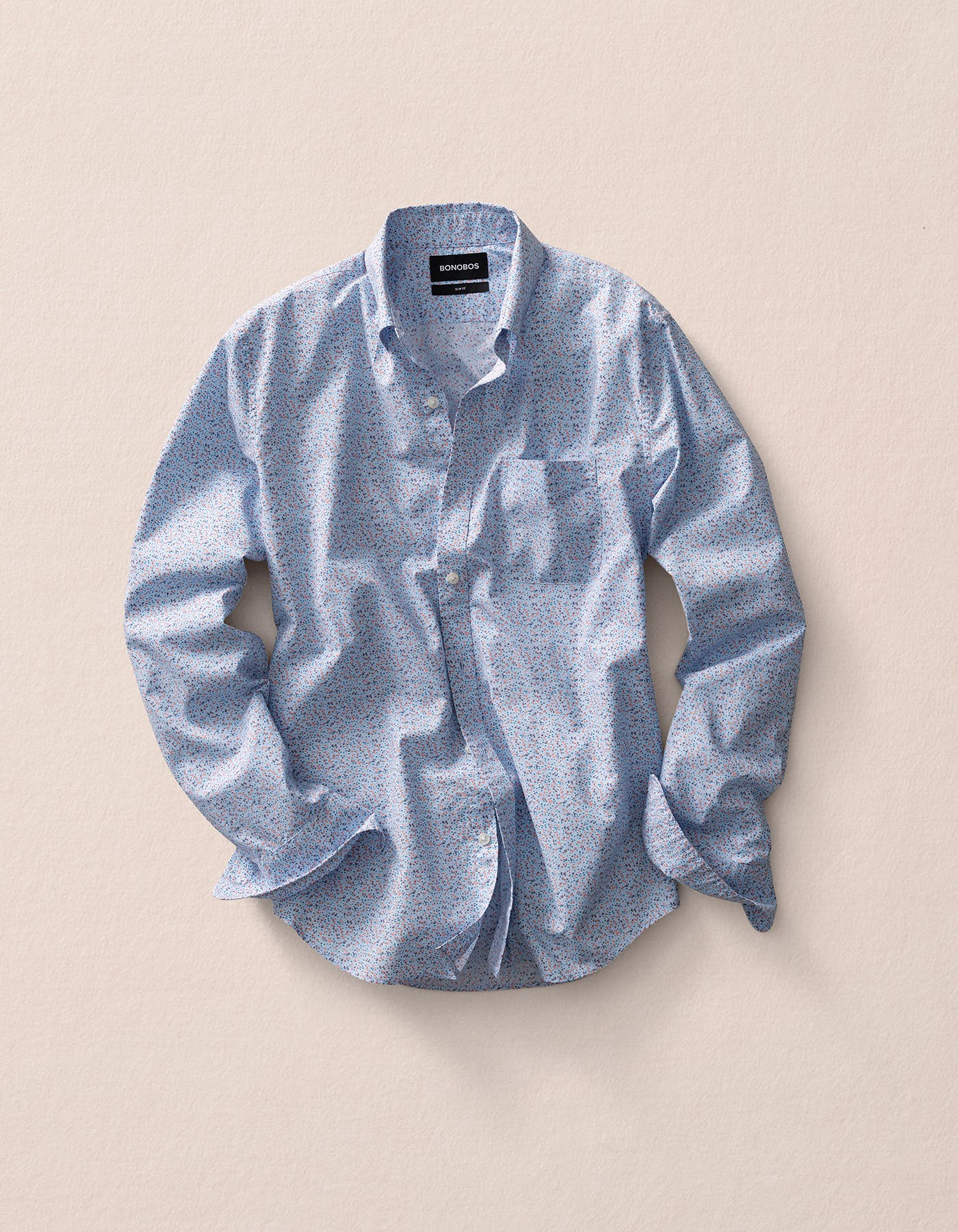 Image of a blue patterned long sleeve shirt