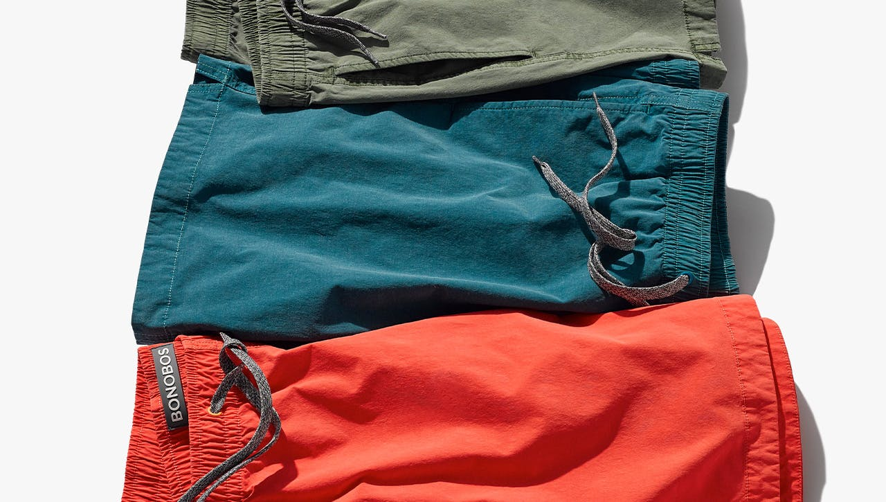 Three colorful elastic waist shorts