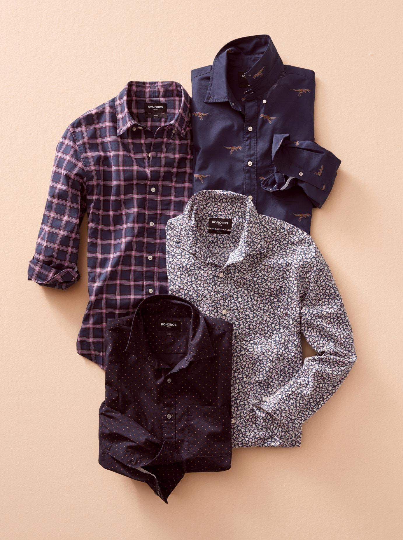 Image of four fall theme long sleeve casual shirts