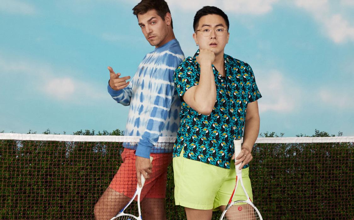 image of Matt Rogers and Bowen Yang wearing Anywhere Shorts