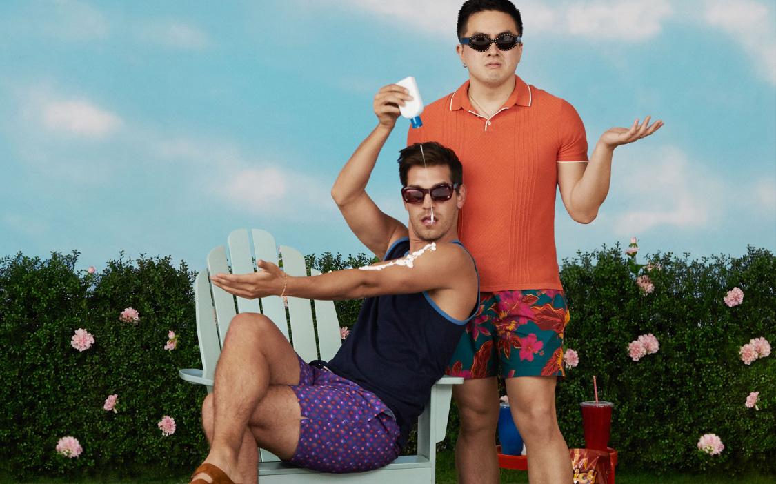 image of Bowen Yang and Matt Rogers wearing swim trunks