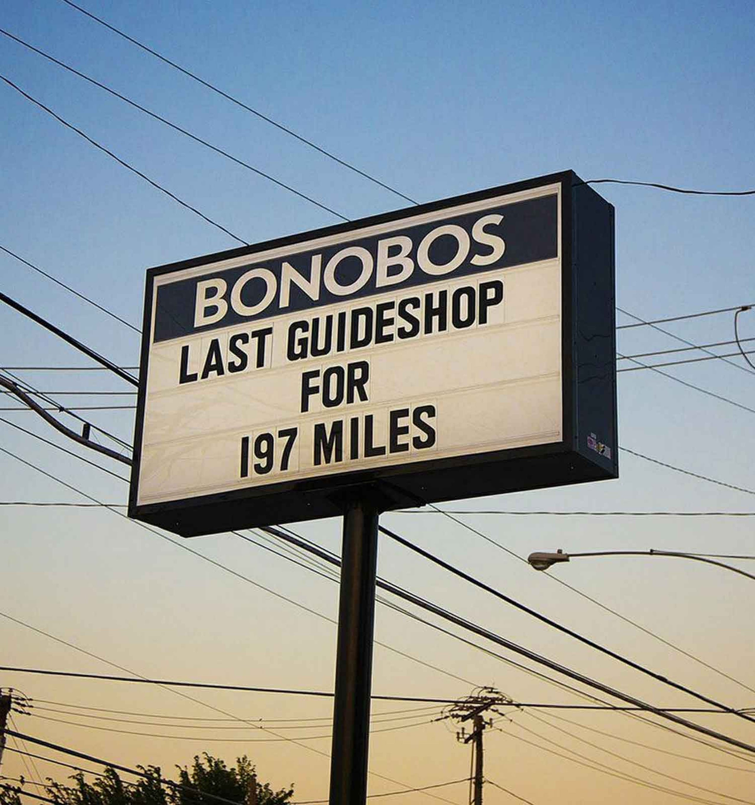 Image of billboard, text reads Bonobos, last guideshop for 197 miles