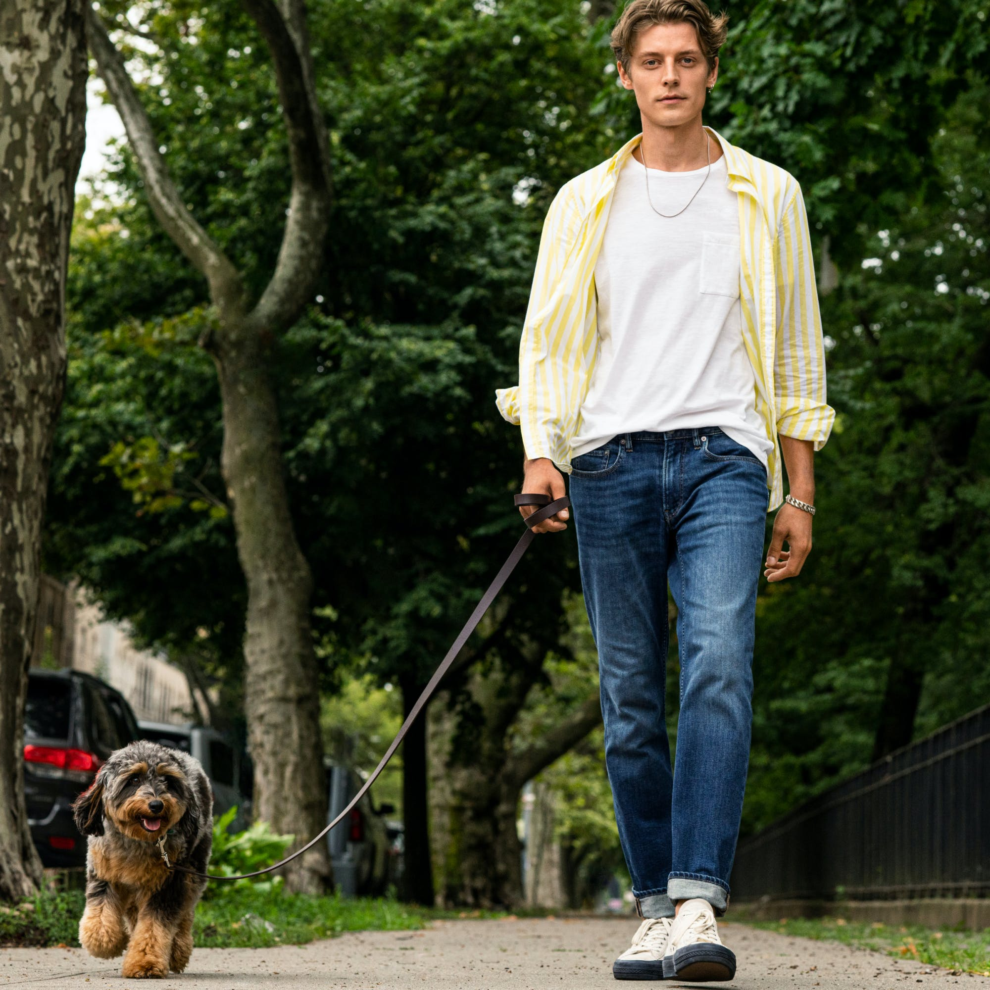 Man wearing lightweight Jeans walking his dog