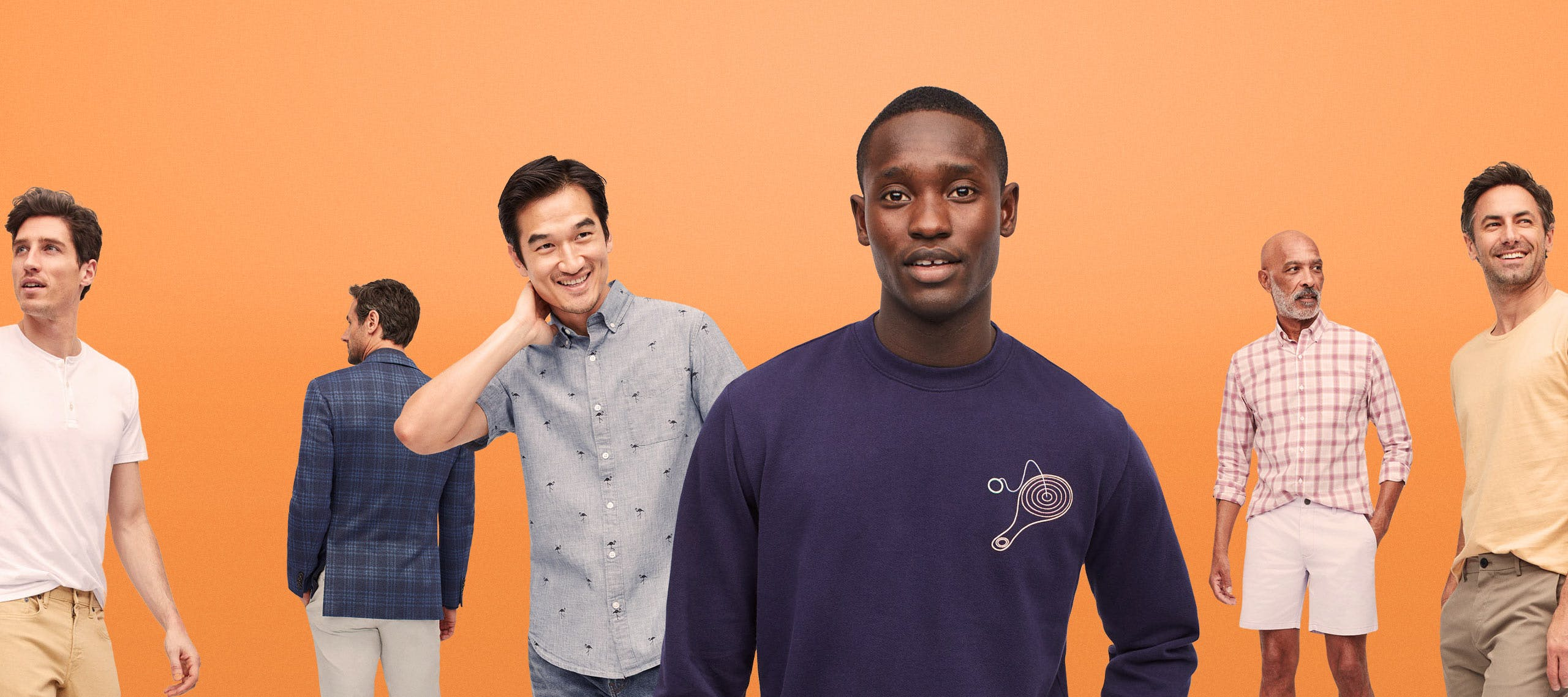 A range of models in different Bonobos clothes on a white background